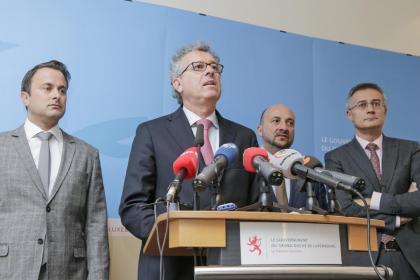 Point presse 2014 - Xavier Bettel, Pierre Gramegna, Étienne Schneider, Félix Braz